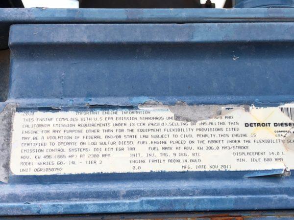 Description tag on an Energy Fabrication truck